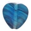 Glass Pressed Beads 10x10mm Heart Petroleum Blue Matt